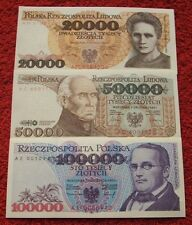 POLAND SET BANKNOTES PRL 20000 ZLOTYCH - 100000 ZLOTYCH UNC LOT 3 PCS NOTES LOT