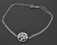 Bm23 Sterling Silver Tree of Life Double Chain Bracelet