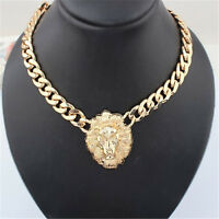 HOT CELEBRITY STYLE CHUNKY CHAIN NECKLACE LION HEAD GOLD STATEMENT QUEEN  X~