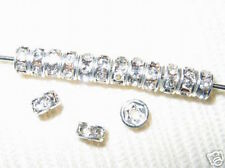 100 Swarovski Rondelles Spacer Beads 4mm Silver / Crystal SR401