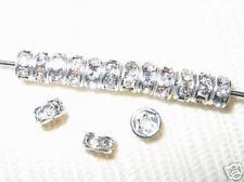 100 Swarovski Rondelles Spacer Beads 4mm Silver / Crystal SR401