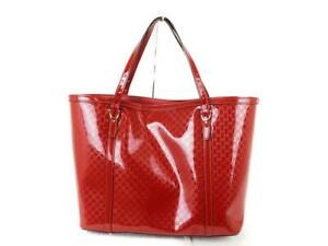 Gucci Micro Gg Tote Bag Enamel Red Used