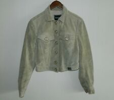Vintage Women VERSACE JEANS COUTURE Green Suede Leather Jacket Size S