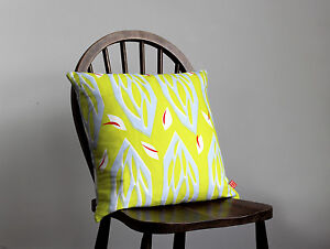 MODERN LINEN CUSHIONS - RETRO DESIGNS FEATHER FILLED - PRISM NEON LIME