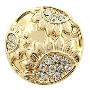 Noosa Chunks Ginger Style Snap Button Charms Gold Crystal Sunflowers 20mm NEW