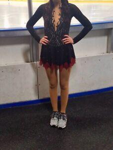 LIUHUO Black Ice Figure Skating Dress Long-Sleeved Highg Collar Skating Skirt