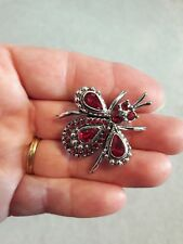 Brooch Red Facets/Rhinestone Accented Vintage Silver Tone Bug Beetle