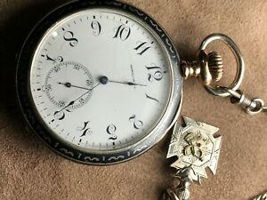 Antique Longines Pocket Watch Niello Sterling silver case running