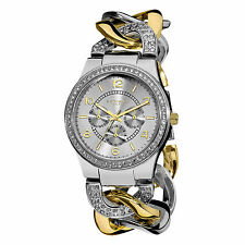 Women's Akribos XXIV AK558TTG Multifunction Crystal Accented Twist Chain Watch