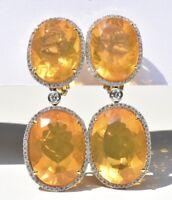 Citrine & Diamond Drop Earrings 18k