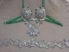 Egyptian Belly Dance Costume bra & Belt Set Professional Dancing Green Silver