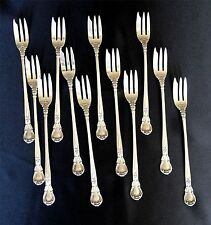 12 Gorham Chantilly Sterling Silver Seafood Forks, Old Mark, Mono