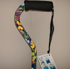 NEW! LADIES VIBRANT BUTTERFLY PRINT OFFSET HANDLE SELF STANDING TIP WALKING CANE