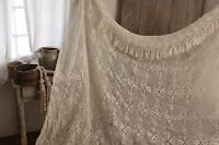 Vintage Crochet coverlet hand made bed cover white lace 90X82 inches