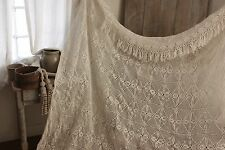 Vintage handmade hand made Crochet coverlet bed cover lace 90X82 inches