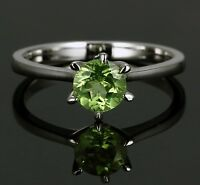 925 Sterling Silver Natural Green Peridot Ring Jewelry Round Cut Size US 3 to 13