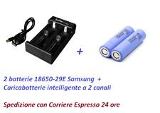 2 batterie SAMSUNG 18650 29E  2900 mAh  + caricabatterie intelligente a 2 canali
