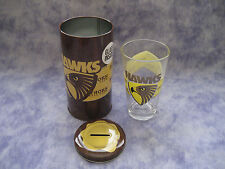 AFL HAWTHORN HAWKS MONEY TIN & GLASS TUMBLER SET - NEW!