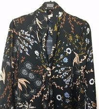M&S Marks s6 £45 Limited Black Floral Print Silky Long Shirt Dress NoBelt BNWT