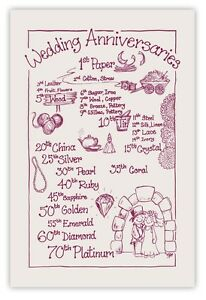 WEDDING ANNIVERSARIES Tea Towel 100% Cotton Natural/Maroon. 2nd Anniversary Gift