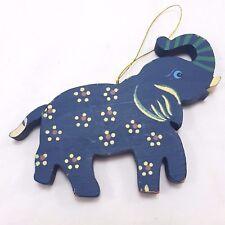 Handpainted Wood Elephant Christmas Ornament Folk Art Blue Trunk Up Tole Paint