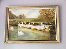 Canal boat oil painting original VIN & I framed signed