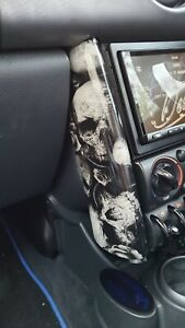 Mini Cooper R50/R53 shortened floating dash tubes skull hydro dipped double din