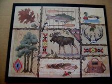 moose fish duck country lodge cabin lake home wall art wood decor sign 13x17""