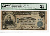 1902 fr.627 Cleveland OH $10 Large Size US Currency Note Certified PMG VF25 4019