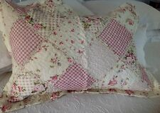 Shabby Chic Pillow Sham Case Cover Slip Pink Quilted Floral Standard Size