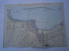 Carte 19° 1858  couleur atlas Malte brun Plan de la rade de Cherbourg