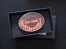 """Harley Davidson Bar & Shield / """"USA"""" American Flag Belt Buckle"""