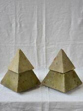 "Pair of mid century garden finials - pyramids 15¾"""