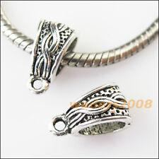 12 New Knot Tibetan Silver Bail Bead Fit Bracelet Chrams Connectors 7.5x14mm