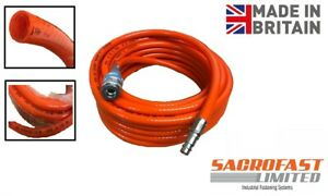 SACROFAST ORANGE AIR HOSE WITH PCL FITTINGS - 50 METRES (MADE IN THE UK)