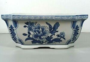 "Chinese Blue White Porcelain Large Planter Jardiniere Flower Pot Cottagecore 11"""