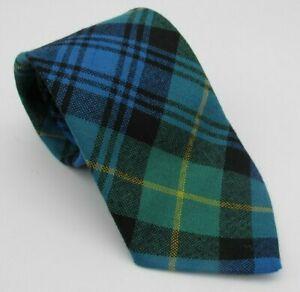 Vtg Ingles Buchan 100% Wool Scottish Tartan Plaid Tie Blue Green Black Gold
