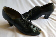 Original Antique 1920s Black Leather Peep Toe Lace Up Heals Shoes Size 5 1/2