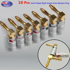 10pcs Gold Plated Right Angle Speaker Wire Connector 4mm Banana Plug AU