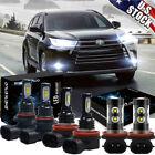 For Toyota Highlander 2014-2019 6x LED Headlight+Fog Light Bulbs Combo Kit 6000K