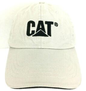 CAT Caterpillar Cap Embroidered Logo Tractor Strap Back Baseball Trucker Hat Tan
