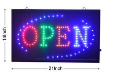"LARGE Animated LED Neon BUSINESS OPEN Sign w.Motion ON/OFF Switch 21"" X13"" # 045"