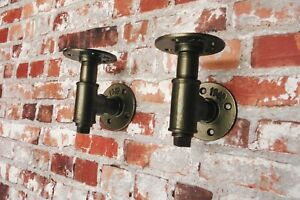 Pipe Fitting Shelving / Shelf Brackets - Any Size - Any Colour (Pair)