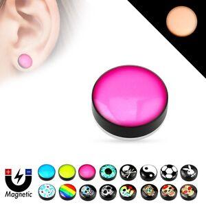 Magnet Fake Plug Glow IN The Dark Picture Motif Non Piercing Ear Tunnel Earrings