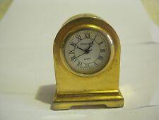 Miniature Mantel Clock, Gold Finish, Quartz, New Battery (GS26-21)