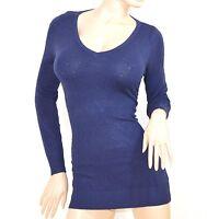 MAGLIETTA MAXI PULL BLU donna manica lunga sottogiacca maglia maglioncino E30