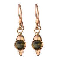 Women Jewelry 925 Sterling Silver smoky Quartz gemstone dangle rose gold earring