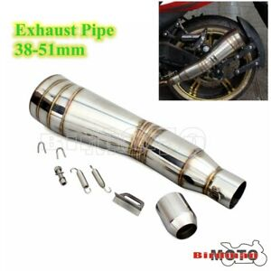 Universal 38-51mm Motorcycle Exhaust Pipe Muffler Exhaust Escape Pipe W/Silencer