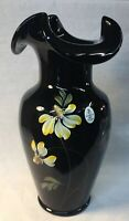 """Fenton Art Hand Painted """"Midnight Garden"""" On Black Glass Vase"""