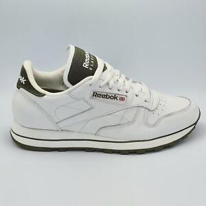 Reebok Mens Classic Leather Retro Trainers -White/Green - UK 8